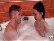 Skinny Asian Sucks Dick In Bubble Bath