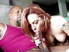 Tattooed Porn Star Licking And Sucking A Stranger's Big Black Co