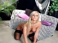 Blonde With Big Tits In Stockings And High Heels Showing Her Sha