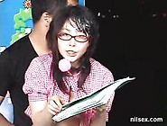 Asian Nerd Girl Getting Fucked While Reading The News Out