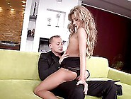 Sexy Blonde Ioana Shows Her Body During An Interview