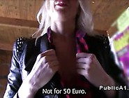 Euro Blonde Amateur Flashing At Bus Stop Video
