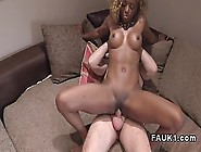 Nubian British Girl With A Blonde Afro Jumps On The Casting Couc