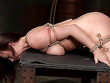 Bondage Slave Ravished Hardcore In Mmf Bdsm Porn Shoot
