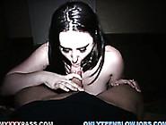 Skanky Ashley Jordan Gives Deepthroat Blowjob In The Dark Room