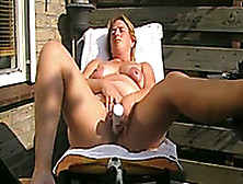 Chubby White European Wife Masturbates On The Lounger