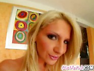 Delightful Blonde Bebe Is Playing Round Banana