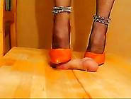 High Heel Cock And Ball Trample Orange Metal