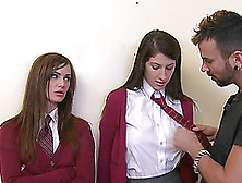 Two Babes In A School Uniform Get Banged By A Bad Guy