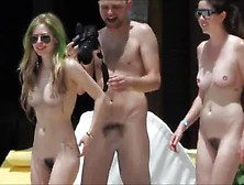 Avril Lavigne Nude On Public Beach With Friends