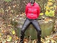 Pissing In Leather Jeans And Gas Mask