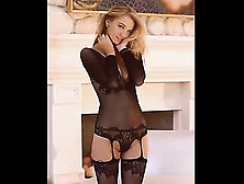 Astonishing Blonde In Sexy Black Lingerie Sensually Touches