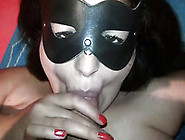 Thirsty Brunette Mom Wearing Facial Mask Gives Me Head