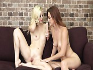 Two Attractive Girls Fuck Each Other With Sex Toys And Cum Toget
