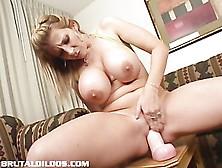 Tall blonde brutal dildos
