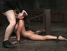 Lush And Stunning Busty Babe On Chain Leash Feeding On Dicks