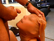 Nylon Freak Gets A Real Cumshot After Some Intense Pounding&#x21