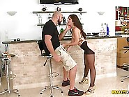 Dark Haired Latina,  Alexa Rydell Is Giving Great Blowjobs To Guy