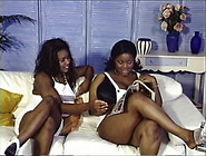 Beautiful Ebony Babes Fondle Each Other Huge Tits