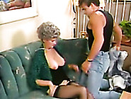 Lusty Grannie In Black Stockings Gets Her Muff Finger Fucked By
