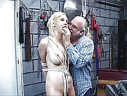 Bdsm Pale Blonde With Clamp On Her Clit Stands So Dude Can Clamp