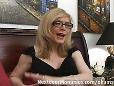 Naughty Woman With Glasses Is Giving A Blowjob To A Horny Guy Wh