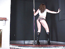 Wearing A Half Shirt And See-Thru Panties,  Megan Works The Pole