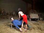 De Vrouw In Rood Neukt De Landbouwer