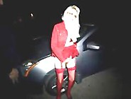 Blonde In Stockings And Red Lingerie Fucking Outdoors