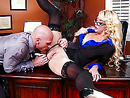Bimbo Office Babe Bares Her Big Fake Tits To Get Fucked Lustily