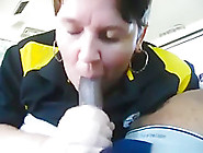 Fat White Milf Sucks Her Black Bf's Cock In The Car And Swallows