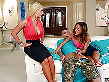 Asian Teen And Blonde Milf Sharing A Pulsating Schlong