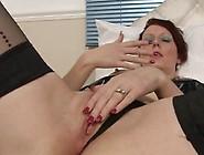 Pierced Clit Redhead Fingers Her Juicy Vagina