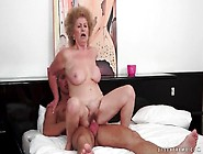 Granny Takes Cock Ride On Young Fit Guy