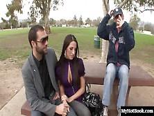 Brunette Kortney Kane And Her Husband Meet A Stranger In A Park