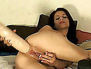 Amateur Brunette Babe Destroys Her Asshole With A Huge Dildo