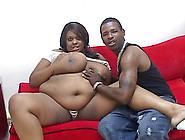 Big Beautiful Ebony-Skinned Woman With Massive Tits Sucking A St