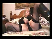Mature Big Boob Blonde Model In Stockings And Miniskirt Strip Te
