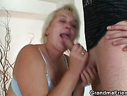 Horny Dudes Get Blowjob From Nasty Granny