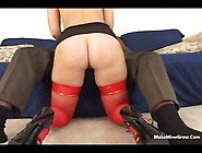 Blonde On Red Stockings With A Bbc By Makeminegrow