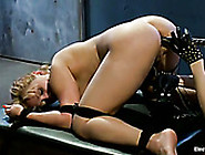Cruel Mistress Fucks Anal Hole And Pussy Of One Tied Up Slave