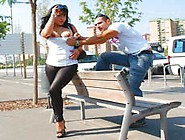 Horny Brunette Latin Slut Busted In The Street For Fuck