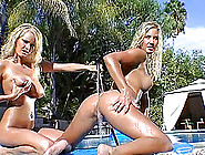 Sexy Blondes Nikki Jayne & Hanna Hilton Have Lesbian Fun On A Po
