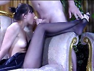 Slim-Legged Chick Inside Dark Sandal Toe Nylon Gives The Special