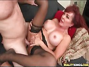 Sex With A Fake Tits Mature Makes Him Cum