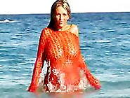 Ines Cudna In Red On The Beach
