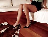 He Cums On Her Sexy Black High Heels & Tan Legs