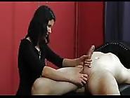 Brunette Gives A Nice Handjob To Get Some Cum