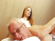 Hot Teen Rubs And Fucks An Old Mans Cock