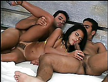 A Sexy Brazilian Girl Gets Some Savage Anal Treatment From Two M